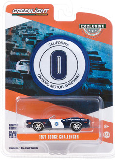 1971 Dodge Challenger Convertible Ontario Motor Speedway Dodge Official Pace Car, Blue and White - Greenlight 30145/48 - 1/64 scale Diecast Model Toy Car