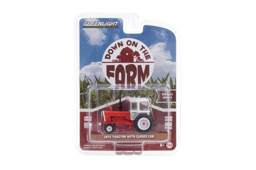 1973 Tractor with Closed Cab, Red and White - Greenlight 48040/48 - 1/64 scale Diecast Model Toy Car