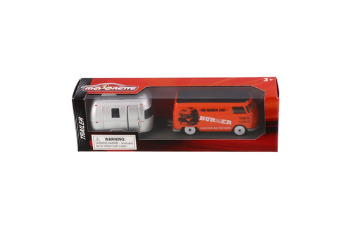 Volkswagen T1 Bus Food Truck & Eriva Trailer, Orange - Jada Toys 2120520141JA - 1/64 scale Diecast Model Toy Car