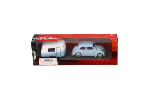 Volkswagen Kaefer with Airstream Trailer Food Truck, Light Blue - Jada Toys 2120520141JA - 1/64 scale Diecast Model Toy Car