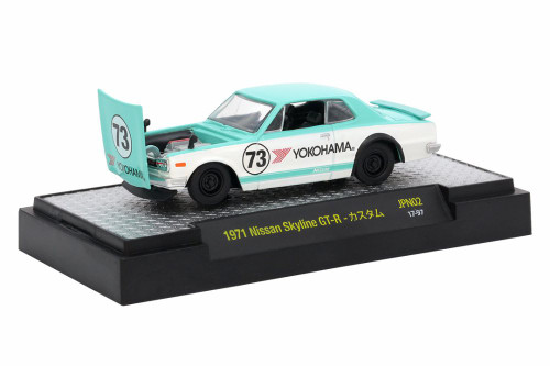 1971 Nissan Skyline GT-R #73, Turquiose & White - Castline M2 32500/JPN02 - 1/64 Scale Diecast Model Toy Car