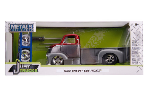 1952 Chevy COE Pickup Truck with Extra Wheels, Charcoal Gray and Candy Red - Jada Toys 31544 - 1/24 scale Diecast Model Toy Car