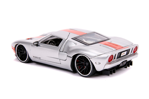 2005 Ford GT Hardtop, Silver and Orange - Jada Toys 31324 - 1/24 scale Diecast Model Toy Car