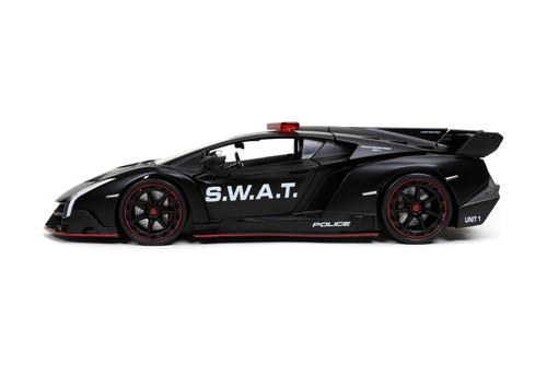 Lamborghini Veneno S.W.A.T. Police, Matte Black - Jada Toys 32261/4 - 1/24 scale Diecast Model Toy Car