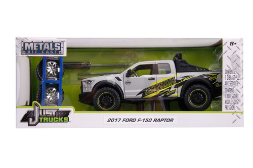 2017 Ford F-150 Raptor Pickup Truck with Extra Wheels, White - Jada Toys 31561 - 1/24 scale Diecast Model Toy Car