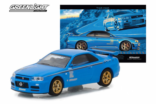 2001 Nissian Skyline GT-R, Blue - Greenlight 29944/48 - 1/64 Scale Diecast Model Toy Car