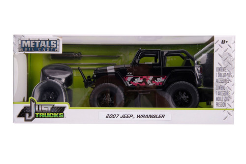 2007 Jeep Wrangler with Extra Wheels, Black - Jada Toys 31560 - 1/24 scale Diecast Model Toy Car