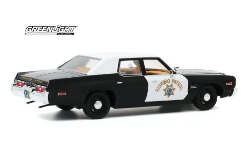California Highway Patrol 1974 Dodge Monaco, White and Black - Greenlight 85511 - 1/24 scale Diecast Model Toy Car