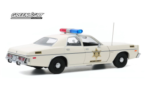 Hazzard County Sheriff 1975 Dodge Coronet, White - Greenlight 19092 - 1/18 scale Diecast Model Toy Car
