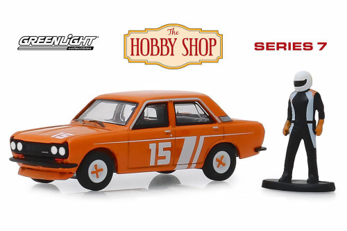 1970 Datsun 510 4-Door Sedan with Race Car Driver, Orange - Greenlight 97070D/48 - 1/64 scale Diecast Model Toy Car