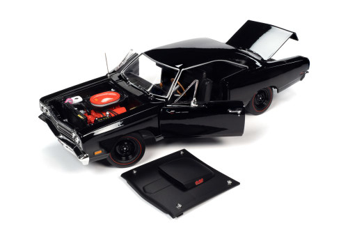 MCACN 1969.5 Plymouth Road Runner Hardtop, Black Velvet - Auto World AMM1232 - 1/18 scale Diecast Model Toy Car
