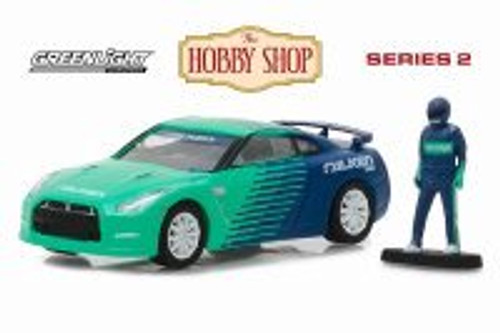 2015 Nissan GT-R, Green w/ Blue - Greenlight 97020D/48 - 1/64 Scale Diecast Model Toy Car