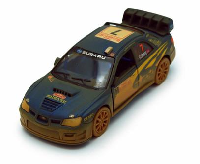 2007 Subaru Impreza WRC (Muddy) #7, Blue - Kinsmart 5328DY - 1/36 scale Diecast Model Toy Car