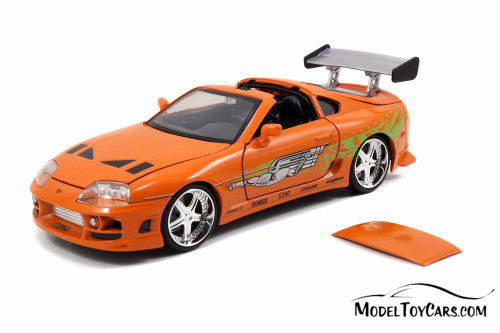 Toyota Supra with Brian Figure , Buildable Model Kit, Fast and Furious - Jada 30699 - 1/24 Scale Diecast Model Toy Car