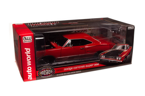 (MCACN) 1969.5 Dodge Super Bee Hardtop, R4 Red - Auto World AMM1231 - 1/18 scale Diecast Model Toy Car