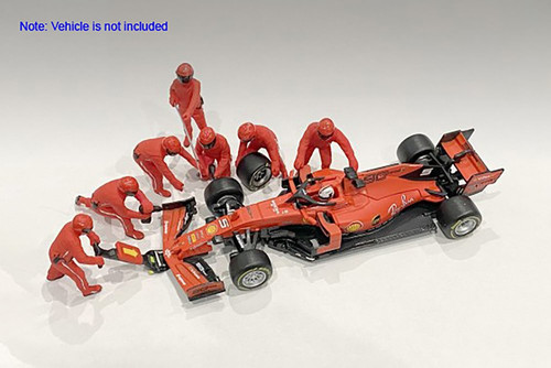 Formula One F1 Pit Crew Team, Red - American Diorama 76550 - 1/18 scale Figurines - Diorama Accessory