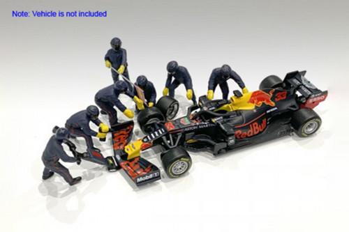 Formula One F1 Pit Crew, Blue - American Diorama 38384 - 1/43 scale Figurines - Diorama Accessory