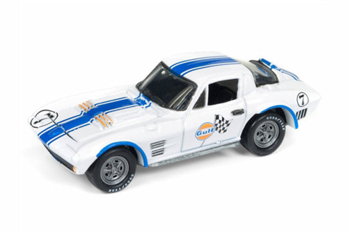 1963 Chevy Corvette Grand Sport, White w/ blue - Round 2 JLSP010/24 - 1/64 Scale Diecast Model Toy Car