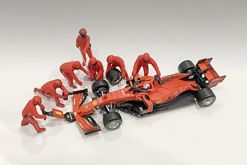 Formula One F1 Pit Crew Team, Red - American Diorama 38382 - 1/43 scale Figurines - Diorama Accessory