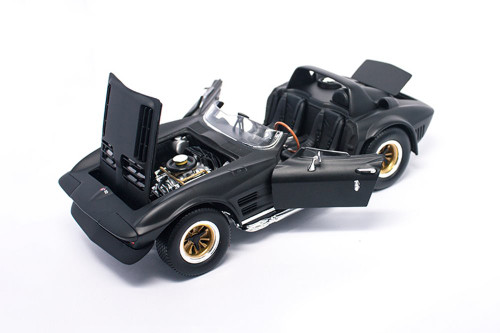 1964 Chevy Corvette Grand Sport Roadster, Matte Black - Lucky Road Signature 92697MBK - 1/18 scale Diecast Model Toy Car