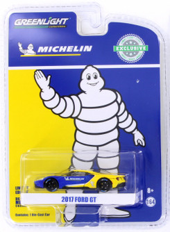 2017 Ford GT #68 Michelin Tires, Blue and Yellow - Greenlight 29945/48 - 1/64 Scale Diecast Model Toy Car