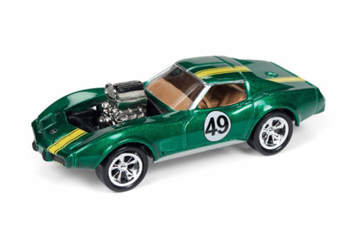 1975 Chevy Corvette, Metallic Forest Green - Round 2 JLSF009/48A - 1/64 scale Diecast Model Toy Car