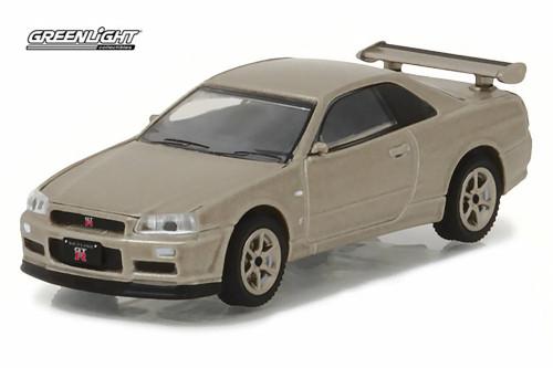 2001 Nissan Skyline GT-R R34, Gray - Greenlight 29880/48 - 1/64 scale Diecast Model Toy Car