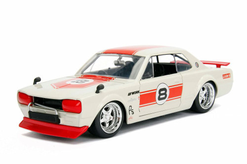 1971 Nissan Skyline GT-R Hard Top, White with red - Jada 30002WA1 - 1/24 scale Diecast Model Toy Car