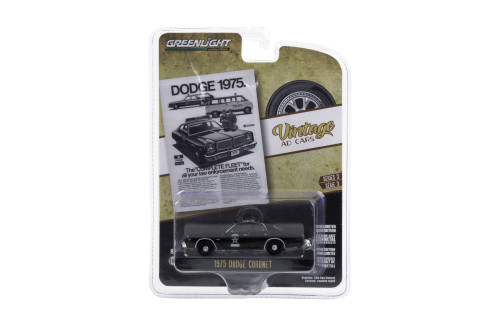 """Dodge 1975. The Complete Fleet for all your law enforcement needs"" 1975 Dodge Coronet State Police, Black - Greenlight 39050/48 - 1/64 scale Diecast Model Toy Car"