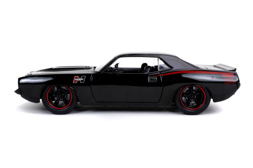 1973 Plymouth Barracuda, Black - Jada Toys 31460/4 - 1/24 scale Diecast Model Toy Car