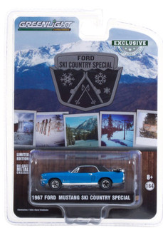 1967 Ford Mustang Coupe Ski Country Special, Vail Blue - Greenlight 30171/48 - 1/64 scale Diecast Model Toy Car