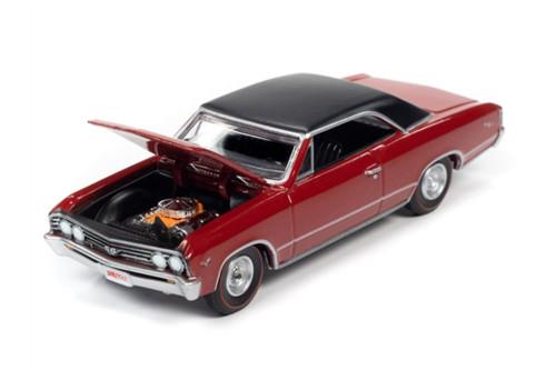 1967 Chevy Chevelle SS Hardtop, Bolero Red /Black - Auto World AWSP051/24A - 1/64 scale Diecast Model Toy Car