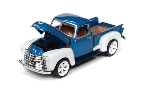 1950 Chevy 3100 Pickup Truck, Custom Metallic Blue /White - Johnny Lightning JLSP106/24B - 1/64 scale Diecast Model Toy Car