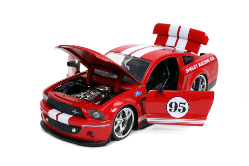 2008 Ford Shelby GT-500KR #95 Shelby Racing Co. Hardtop, Red /White - Jada Toys 31867/4 - 1/24 scale Diecast Model Toy Car
