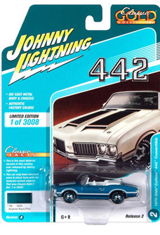 1970 Oldsmobile Cutlass 442 Convertible, Aegean Aqua Blue - Johnny Lightning JLSP102/24A - 1/64 scale Diecast Model Toy Car