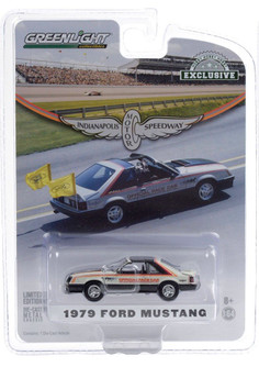 Official Pace Car 63rd Annual Indianapolis 500 Mile Race 1979 Ford Mustang, White and Black - Greenlight 30166/48 - 1/64 scale Diecast Model Toy Car