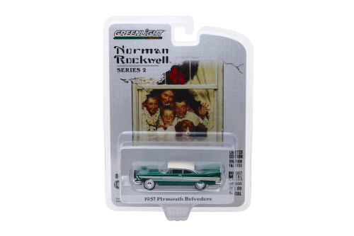 1957 Plymouth Belvedere with Wreath Accessory, Green - Greenlight 54020/48 - 1/64 scale Diecast Model Toy Car