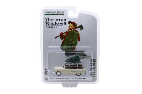1955 Chevy Two-Ten Townsman with Christmas Tree, Cream/Ivory - Greenlight 54020/48 - 1/64 scale Diecast Model Toy Car