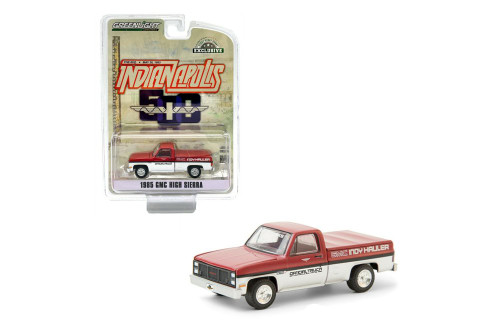 69th Annual Indianapolis 500 Mile Race GMC Indy Hauler 1985 GMC High Sierra Pickup, Red and White - Greenlight 30202/48 - 1/64 scale Diecast Model Toy Car