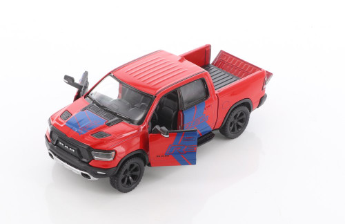 2019 Dodge Ram 1500 Pick-Up truck with Rebel decals, Red - Kinsmart 5413DF - 1/46 scale Diecast Model Toy Car