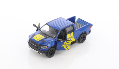 2019 Dodge Ram 1500 Pick-Up truck with Rebel decals, Blue - Kinsmart 5413DF - 1/46 scale Diecast Model Toy Car