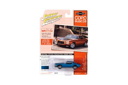 1970.5 Chevy Camaro RS/Z28 COPO, Camaro Mulsanne Blue Metallic - Johnny Lightning JLMC023/48B - 1/64 scale Diecast Model Toy Car