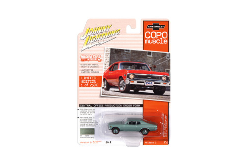 1968 Chevy Nova SS, Grecian Green Metallic - Johnny Lightning JLMC023/48B - 1/64 scale Diecast Model Toy Car