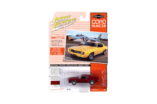 1969 Chevy Camaro ZL1 COPO, Garnet Red - Johnny Lightning JLMC023/48B - 1/64 scale Diecast Model Toy Car