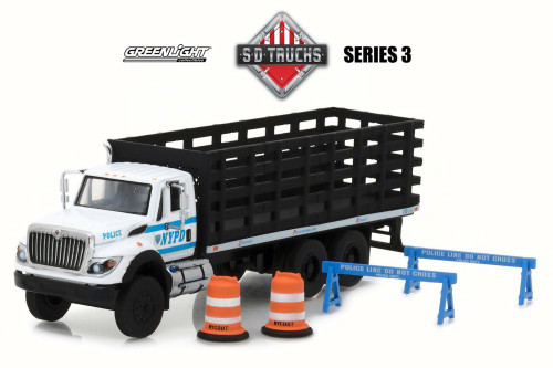 2017 International WorkStar� Platform Stake Truck New York City Police Department, White - Greenlight 45030B/48 - 1/64 Scale Diecast Model Toy Car