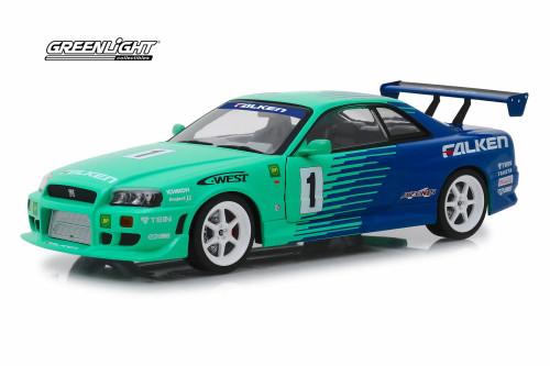 1999 Nissan Skyline GT-R BNR34, #1 Falken Tires - Greenlight 19050 - 1/18 Scale Diecast Model Toy Car