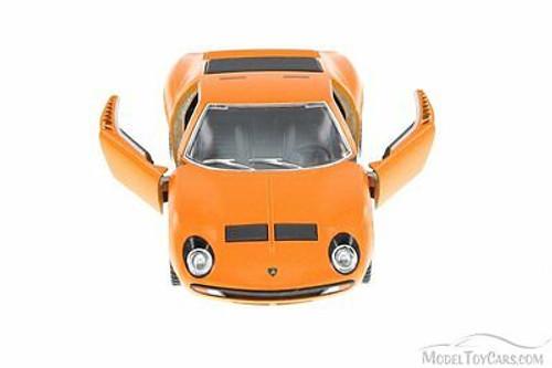 1971 Lamborghini Miura P400 SV Hard Top, Orange - Kinsmart 5390D - 1/34 Scale Diecast Model Toy Car (Brand New, but NOT IN BOX)