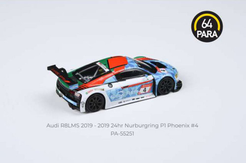 2019 Audi R8 LMS #4 Audi Sport Team Phoenix Nurburgring P1 24 Hours, Blue With Green and White - Paragon PA55251 - 1/64 scale Diecast Model Toy Car