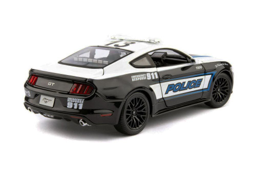 2015 Ford Mustang GT Police, Black and White - Maisto 31397P - 1/18 scale Diecast Model Toy Car