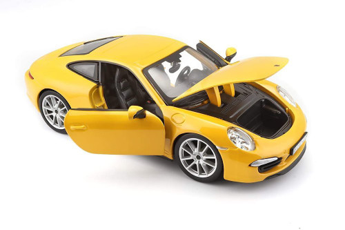 2011 Porsche 911 Carrera S, Yellow - Bburago 21065YL - 1/24 scale Diecast Model Toy Car